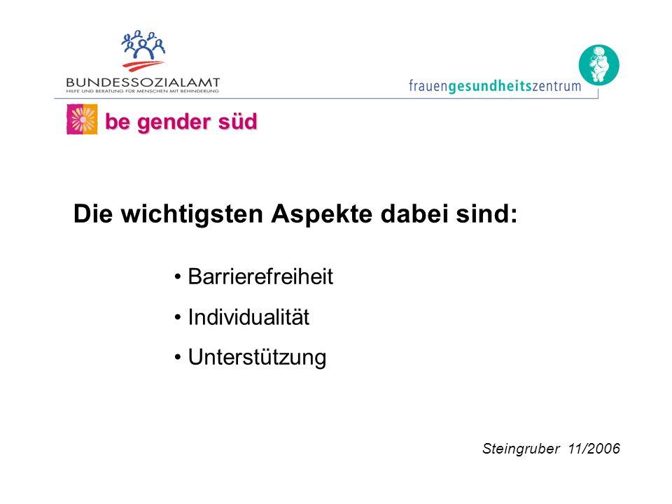 be gender süd Die wichtigsten Aspekte dabei sind: Barrierefreiheit Individualität Unterstützung Steingruber 11/2006