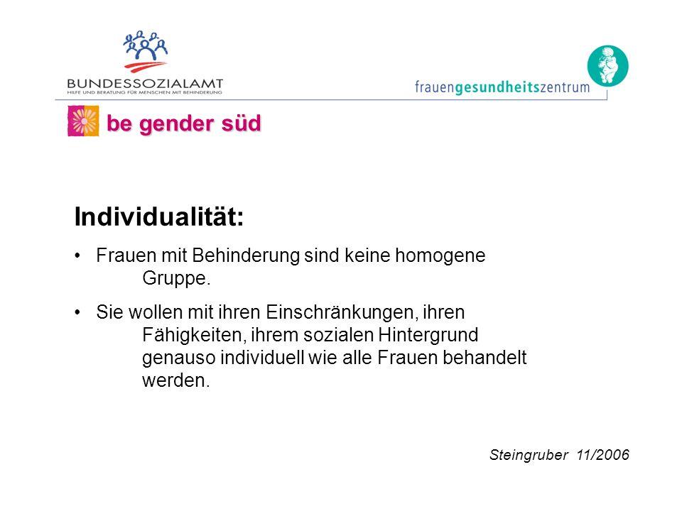 be gender süd Individualität: Frauen mit Behinderung sind keine homogene Gruppe.