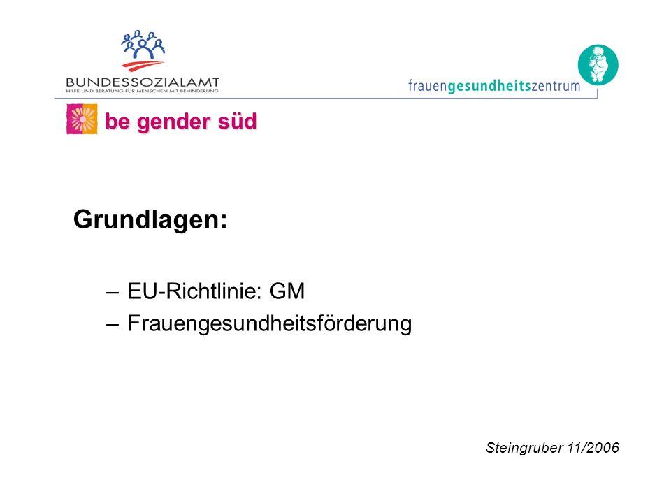 Grundlagen: –EU-Richtlinie: GM –Frauengesundheitsförderung be gender süd Steingruber 11/2006