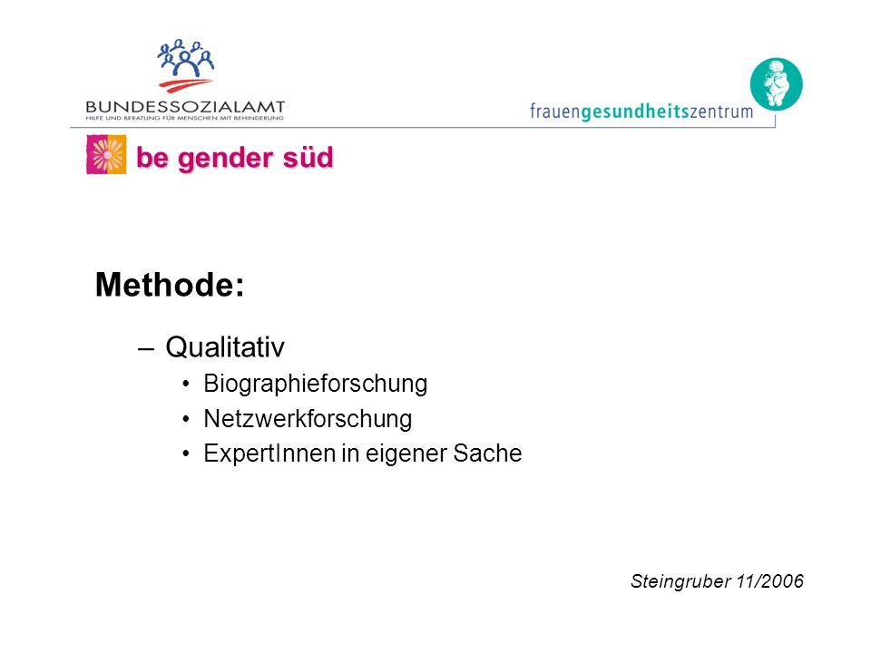 Methode: –Qualitativ Biographieforschung Netzwerkforschung ExpertInnen in eigener Sache be gender süd Steingruber 11/2006