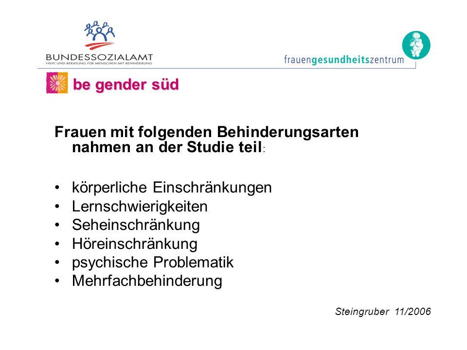 Frauen mit folgenden Behinderungsarten nahmen an der Studie teil : körperliche Einschränkungen Lernschwierigkeiten Seheinschränkung Höreinschränkung psychische Problematik Mehrfachbehinderung be gender süd Steingruber 11/2006