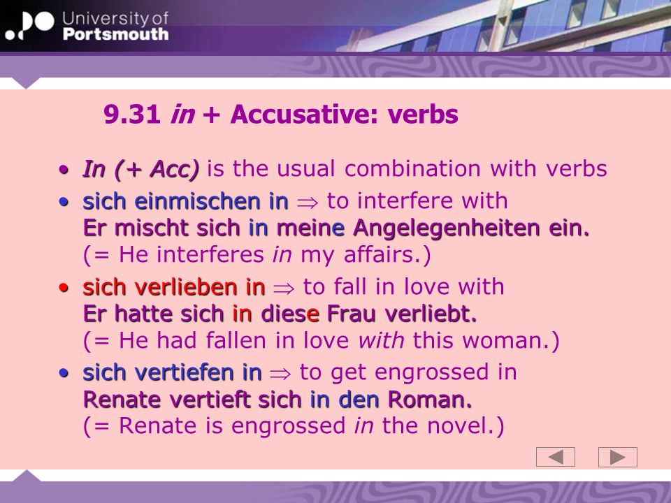 9.32 vor – motion and position Vor in front of ich stehe vor der Kirche er geht vor die KircheVor expresses something that you can be (or move) in front of: ich stehe vor der Kirche (Position Dative) er geht vor die Kirche (Motion Accusative) Vor (+ Dative) ago vor zehn JahrenVor (+ Dative) is used to express ago…: vor zehn Jahren (= ten years ago) beforevor Ostern…or before…: vor Ostern (= before Easter) Vor (+ Dative) cause Ich weinte vor Freude Er zitterte vor WutVor (+ Dative) sometimes expresses cause: Ich weinte vor Freude (= I cried with joy) Er zitterte vor Wut (= He shook with rage)