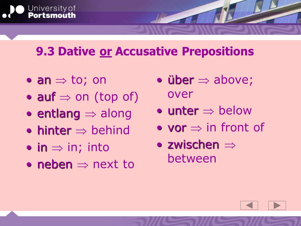 9.4 an - movement, position Andativeposition at am am am an der an der amAn followed by the dative expresses position at objects extending lengthways: - Sie sind am Fluss, am See, am Strand, an der Grenze, an der Küste, am Meer Anaccusative movement to an den an den an den an die an die ansAn followed by the accusative expresses movement to objects extending lengthways: - Er geht an den Fluss, an den See, an den Strand, an die Grenze, an die Küste, ans Meer