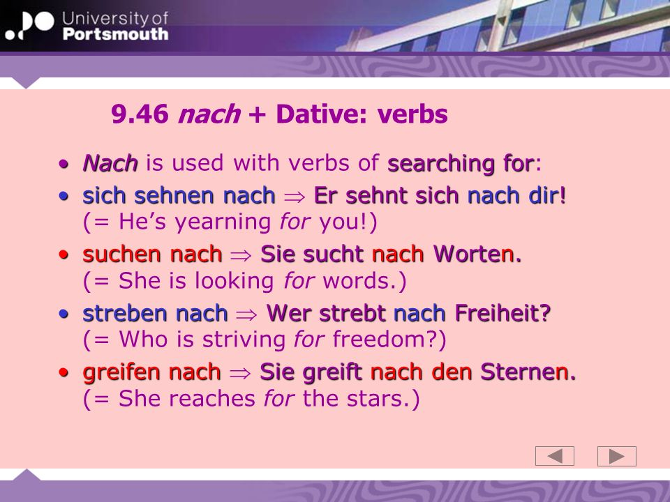 9.47 nach + Dative : verbs (2) Nach asking/calling forNach is used to express asking/calling for: fragen nach Er fragt sie nach dem Weg.fragen nach Er fragt sie nach dem Weg.