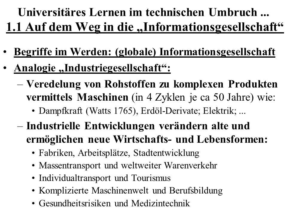Universitäres Lernen im technischen Umbruch... 1.1 Auf dem Weg in die Informationsgesellschaft Begriffe im Werden: (globale) Informationsgesellschaft