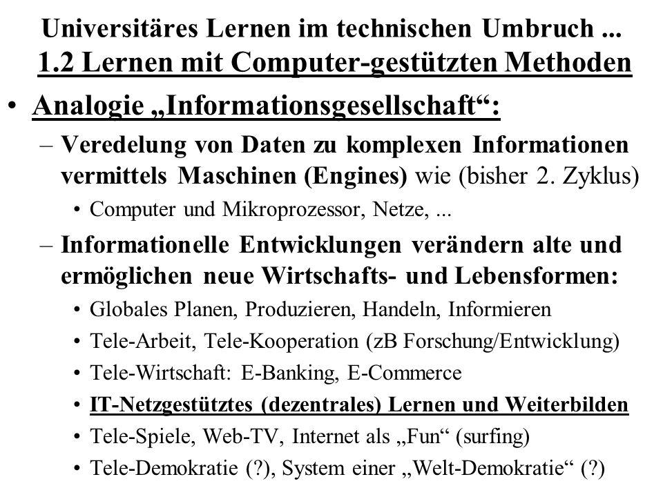 Universitäres Lernen im technischen Umbruch... 1.2 Lernen mit Computer-gestützten Methoden Analogie Informationsgesellschaft: –Veredelung von Daten zu