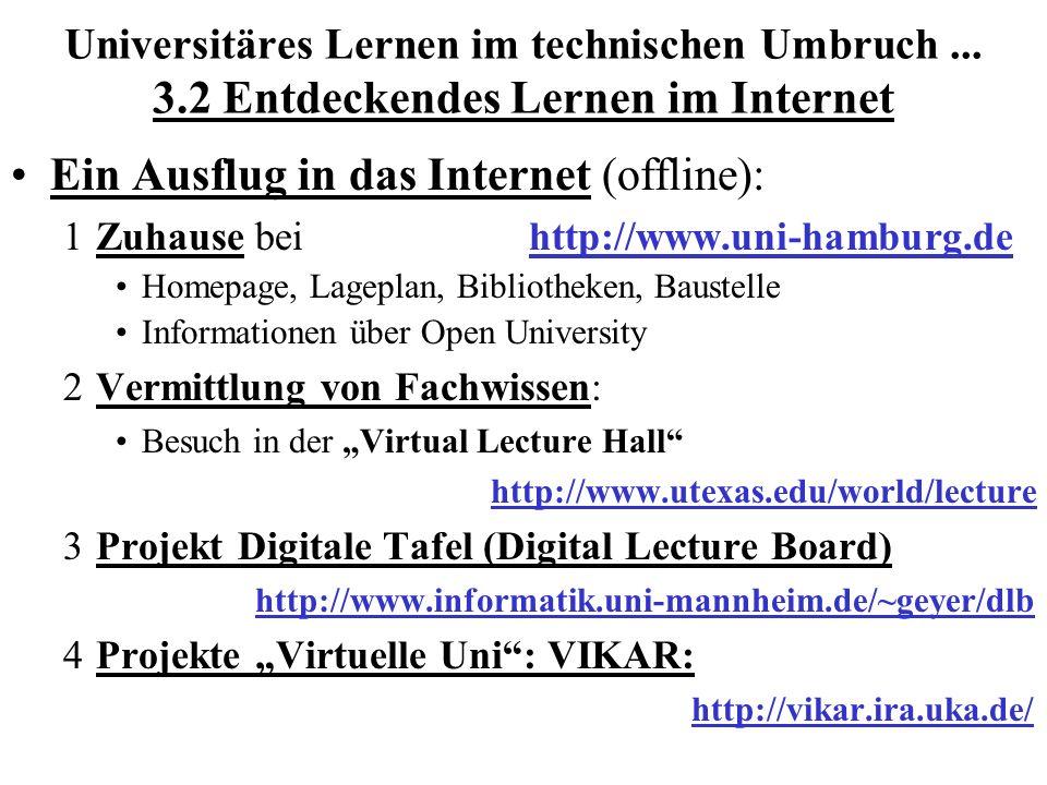 Universitäres Lernen im technischen Umbruch... 3.2 Entdeckendes Lernen im Internet Ein Ausflug in das Internet (offline): 1Zuhause bei http://www.uni-