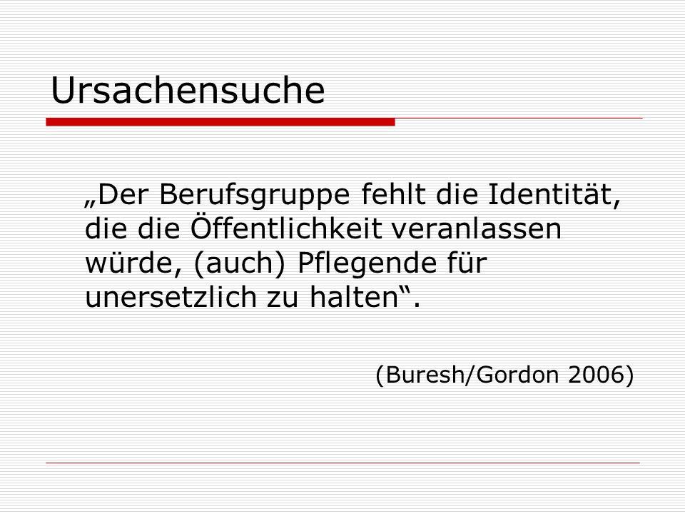 Ursachensuche Der Berufsgruppe fehlt die Identität, die die Öffentlichkeit veranlassen würde, (auch) Pflegende für unersetzlich zu halten. (Buresh/Gor