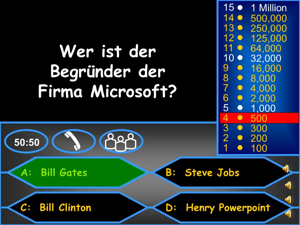 A: Bill Gates C: Bill Clinton B: Steve Jobs D: Henry Powerpoint 50:50 15 14 13 12 11 10 9 8 7 6 5 4 3 2 1 1 Million 500,000 250,000 125,000 64,000 32,
