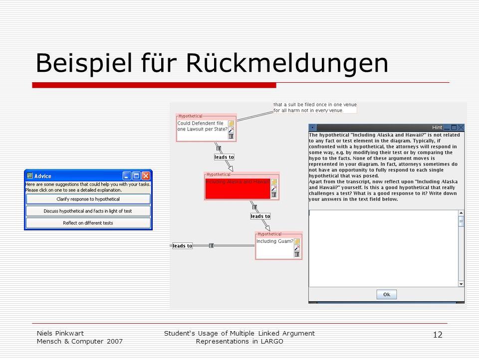 12 Niels Pinkwart Mensch & Computer 2007 Students Usage of Multiple Linked Argument Representations in LARGO Beispiel für Rückmeldungen