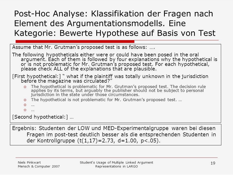 19 Niels Pinkwart Mensch & Computer 2007 Students Usage of Multiple Linked Argument Representations in LARGO Post-Hoc Analyse: Klassifikation der Frag