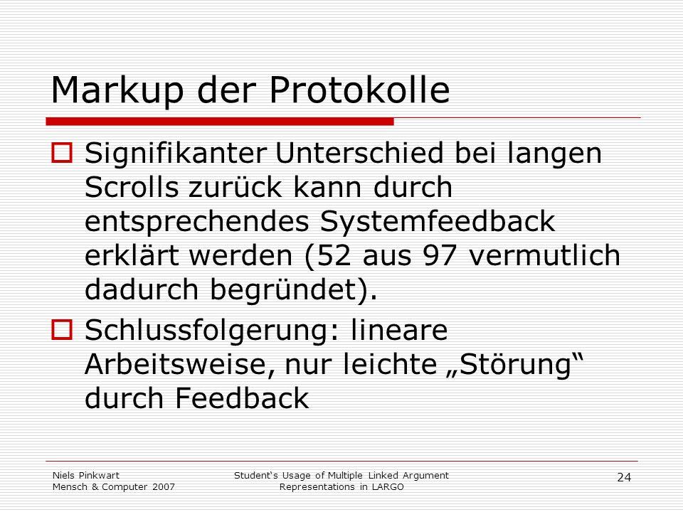 24 Niels Pinkwart Mensch & Computer 2007 Students Usage of Multiple Linked Argument Representations in LARGO Markup der Protokolle Signifikanter Unter