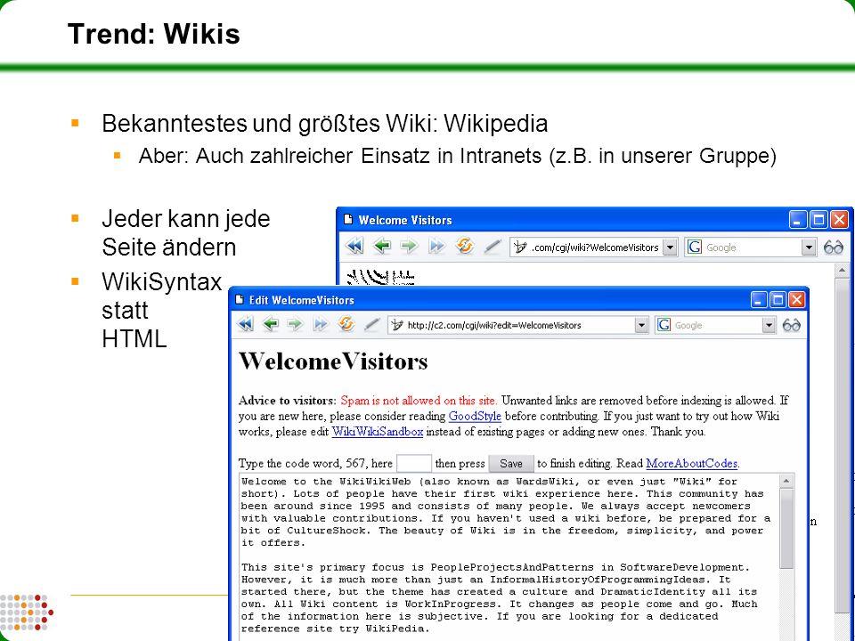 15 FZI Forschungszentrum Informatik (fzi.de) | Forschungsbereich IPE: Information, Process, Engineering Trend: Wikis Bekanntestes und größtes Wiki: Wi