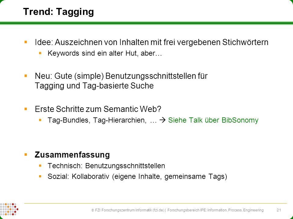 21 FZI Forschungszentrum Informatik (fzi.de) | Forschungsbereich IPE: Information, Process, Engineering Trend: Tagging Idee: Auszeichnen von Inhalten