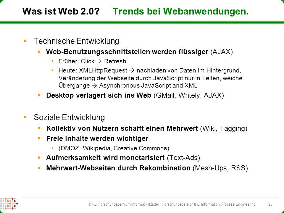 25 FZI Forschungszentrum Informatik (fzi.de) | Forschungsbereich IPE: Information, Process, Engineering Was ist Web 2.0? Trends bei Webanwendungen. Te