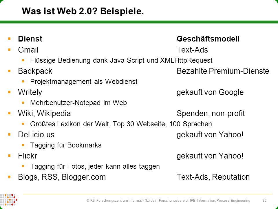 32 FZI Forschungszentrum Informatik (fzi.de) | Forschungsbereich IPE: Information, Process, Engineering Was ist Web 2.0? Beispiele. DienstGeschäftsmod