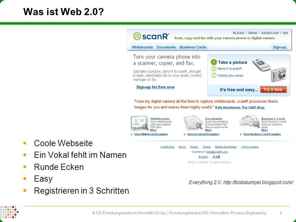 4 FZI Forschungszentrum Informatik (fzi.de) | Forschungsbereich IPE: Information, Process, Engineering Was ist Web 2.0? Coole Webseite Ein Vokal fehlt