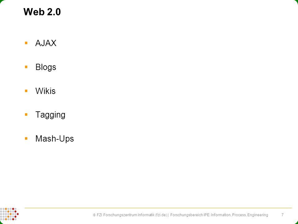 7 FZI Forschungszentrum Informatik (fzi.de) | Forschungsbereich IPE: Information, Process, Engineering Web 2.0 AJAX Blogs Wikis Tagging Mash-Ups