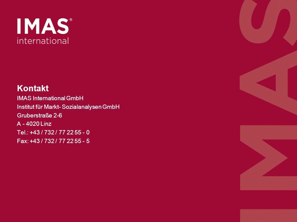 - 12 - n=506, Österreichische Bevölkerung ab 16 Jahre, März 2011, ArchivNr 211024 Kontakt IMAS International GmbH Institut für Markt- Sozialanalysen GmbH Gruberstraße 2-6 A - 4020 Linz Tel.: +43 / 732 / 77 22 55 - 0 Fax: +43 / 732 / 77 22 55 - 5
