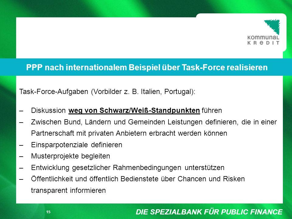 DIE SPEZIALBANK FÜR PUBLIC FINANCE Füllung weiß/ keine Füllung 15 Task-Force-Aufgaben (Vorbilder z.