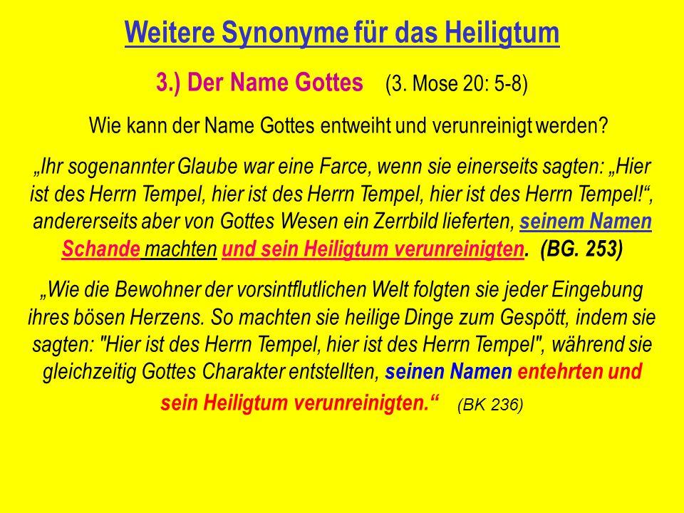 Weitere Synonyme für das Heiligtum 3.) Der Name Gottes (3.