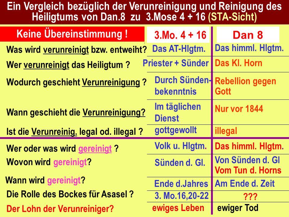 Ein Vergleich bezüglich der Verunreinigung und Reinigung des Heiligtums von Dan.8 zu 3.Mose 4 + 16 (STA-Sicht) Das himml. Hlgtm. Das Kl. Horn Rebellio