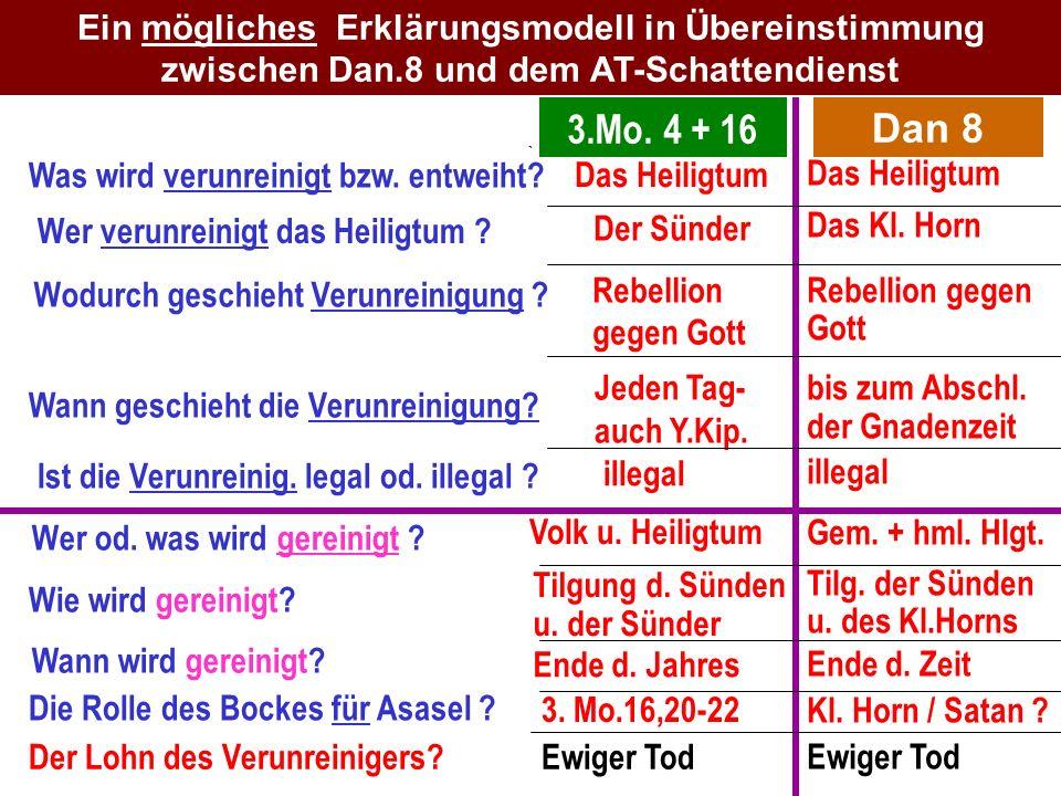 Ein mögliches Erklärungsmodell in Übereinstimmung zwischen Dan.8 und dem AT-Schattendienst 3.Mo. 4 + 16 Das Heiligtum Das Kl. Horn Rebellion gegen Got