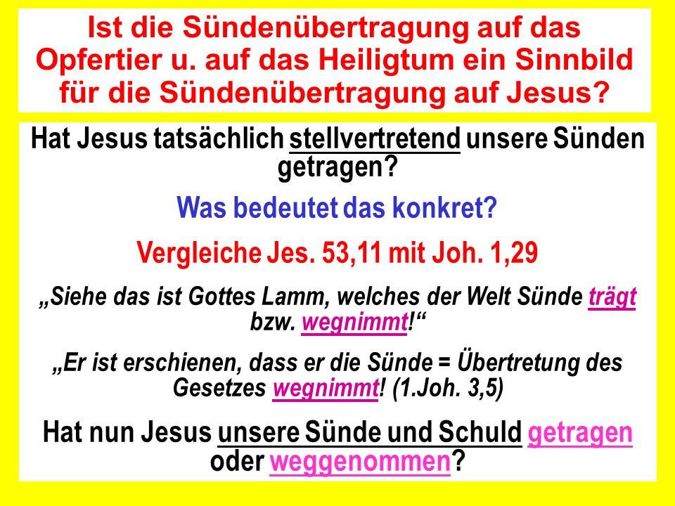 Hat Jesus tatsächlich stellvertretend unsere Sünden getragen? Was bedeutet das konkret? Vergleiche Jes. 53,11 mit Joh. 1,29 Siehe das ist Gottes Lamm,