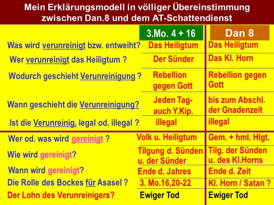 Mein Erklärungsmodell in völliger Übereinstimmung zwischen Dan.8 und dem AT-Schattendienst 3.Mo. 4 + 16 Das Heiligtum Das Kl. Horn Rebellion gegen Got