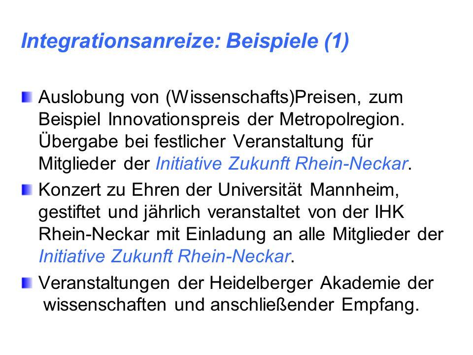 Integrationsanreize: Beispiele (1) Auslobung von (Wissenschafts)Preisen, zum Beispiel Innovationspreis der Metropolregion. Übergabe bei festlicher Ver