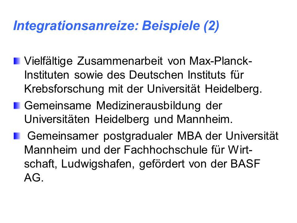 Integrationsanreize: Beispiele (2) Vielfältige Zusammenarbeit von Max-Planck- Instituten sowie des Deutschen Instituts für Krebsforschung mit der Univ