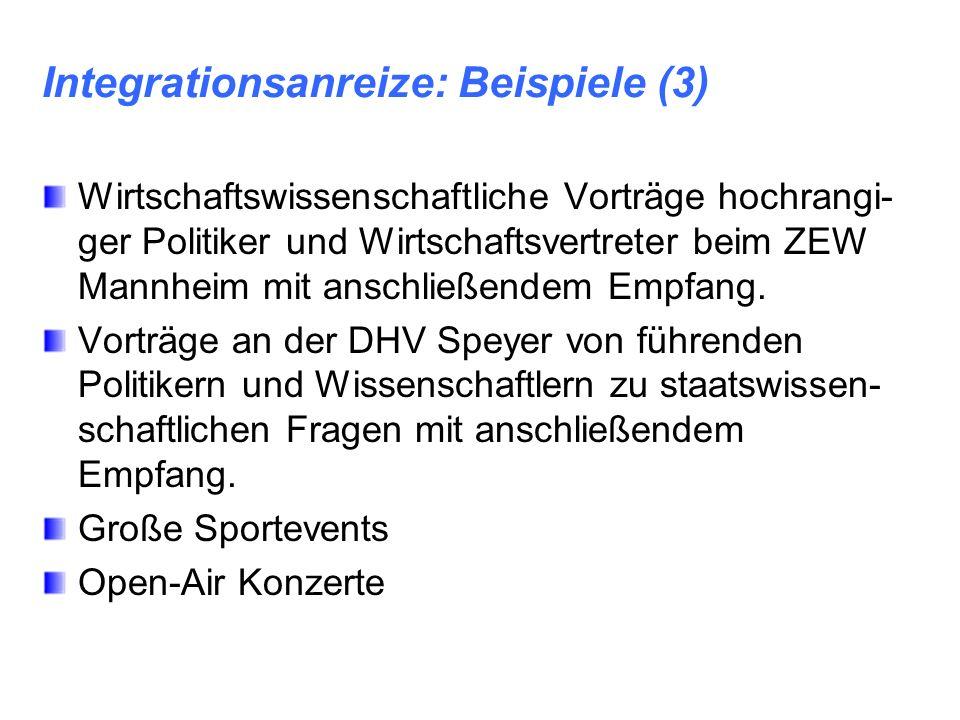 Integrationsanreize: Beispiele (3) Wirtschaftswissenschaftliche Vorträge hochrangi- ger Politiker und Wirtschaftsvertreter beim ZEW Mannheim mit ansch