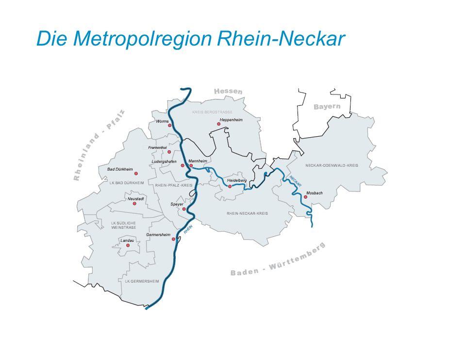 Ausgangspunkt der Entwicklung zur Metropolregion Rhein-Neckar Anfang der neunziger Jahre Gründung eines Rhein-Neckar-Dreieck e.V.