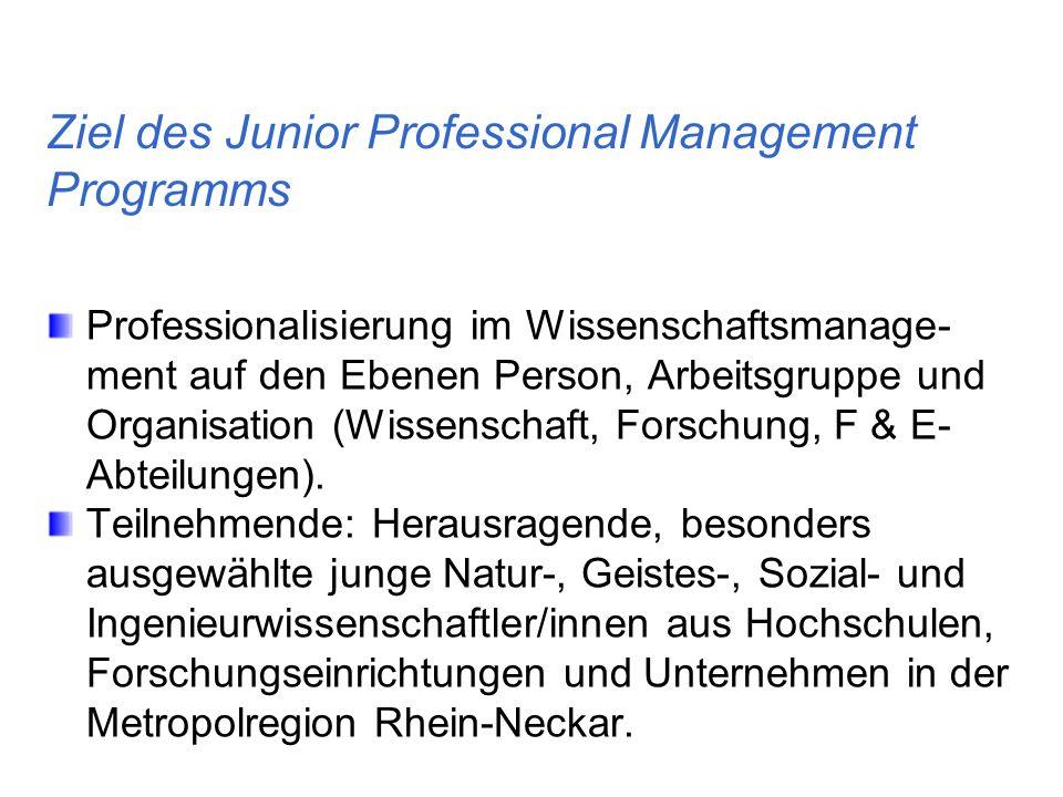 Ziel des Junior Professional Management Programms Professionalisierung im Wissenschaftsmanage- ment auf den Ebenen Person, Arbeitsgruppe und Organisat
