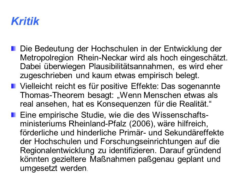 Kritik Die Bedeutung der Hochschulen in der Entwicklung der Metropolregion Rhein-Neckar wird als hoch eingeschätzt. Dabei überwiegen Plausibilitätsann