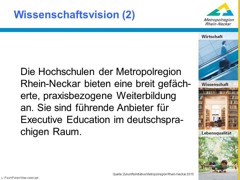 Wissenschaftsvision (2) L: Fisch/Folien/Wiss-vision.ppt Die Hochschulen der Metropolregion Rhein-Neckar bieten eine breit gefäch- erte, praxisbezogene