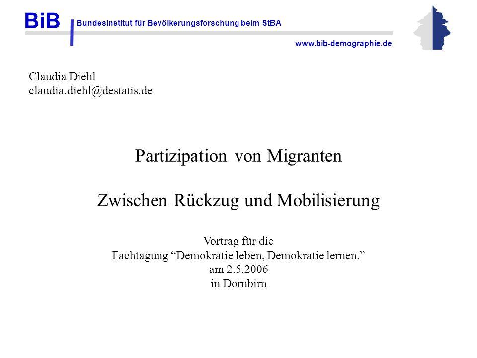 BiB Bundesinstitut für Bevölkerungsforschung beim StBA www.bib-demographie.de Claudia Diehl claudia.diehl@destatis.de Partizipation von Migranten Zwis
