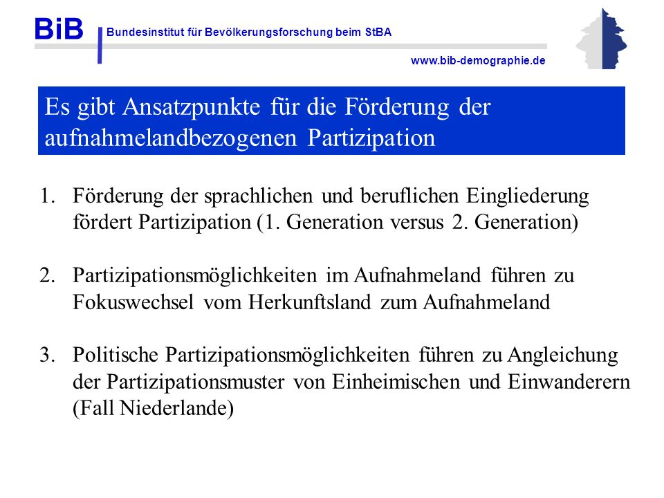 BiB Bundesinstitut für Bevölkerungsforschung beim StBA www.bib-demographie.de Es gibt Ansatzpunkte für die Förderung der aufnahmelandbezogenen Partizi