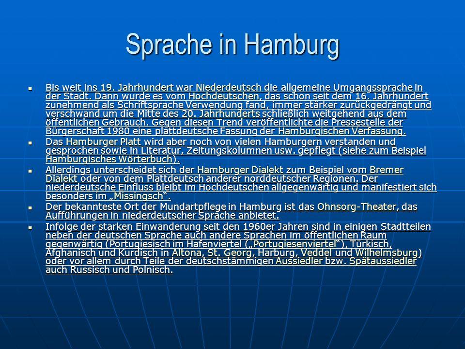 Kultur in Hamburg Die Kultur in der Freien und Hansestadt Hamburg ist in weiten Teilen auf die private Initiative ihrer Bürger zurückzuführen und gedieh in ihrer liberalen und mäzenatischen Einstellung.