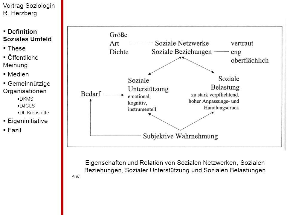 Eigenschaften und Relation von Sozialen Netzwerken, Sozialen Beziehungen, Sozialer Unterstützung und Sozialen Belastungen Aus: Vortrag Soziologin R. H