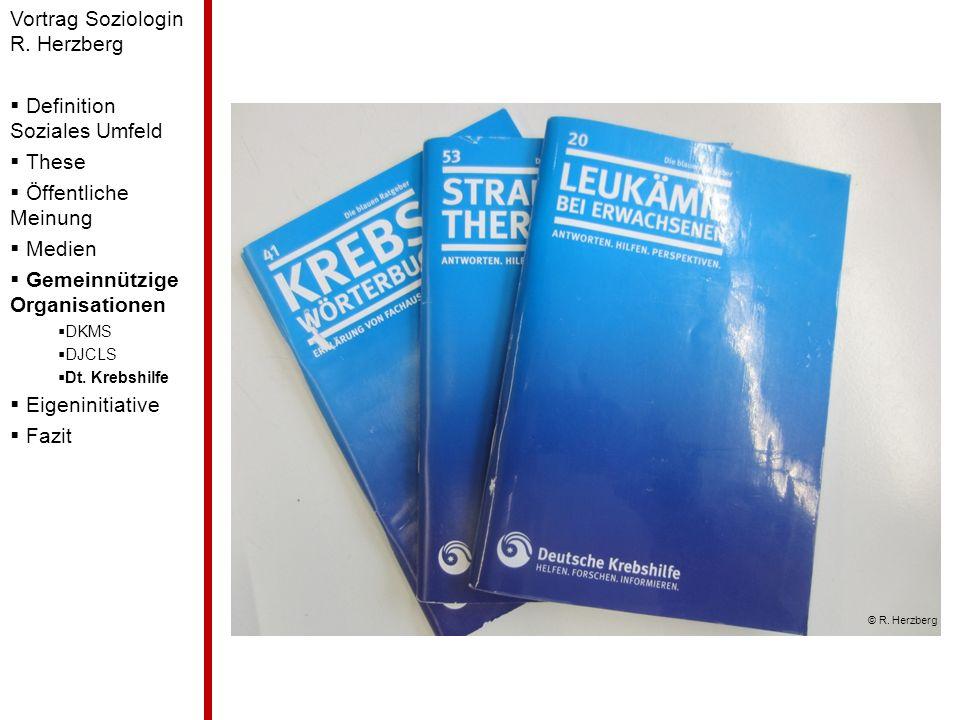 Vortrag Soziologin R. Herzberg Definition Soziales Umfeld These Öffentliche Meinung Medien Gemeinnützige Organisationen DKMS DJCLS Dt. Krebshilfe Eige