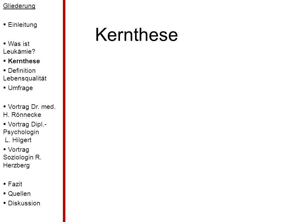 Kernthese Gliederung Einleitung Was ist Leukämie? Kernthese Definition Lebensqualität Umfrage Vortrag Dr. med. H. Rönnecke Vortrag Dipl.- Psychologin
