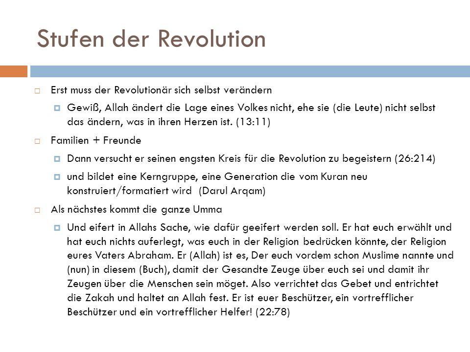 Stufen der Revolution Erst muss der Revolutionär sich selbst verändern Gewiß, Allah ändert die Lage eines Volkes nicht, ehe sie (die Leute) nicht selb