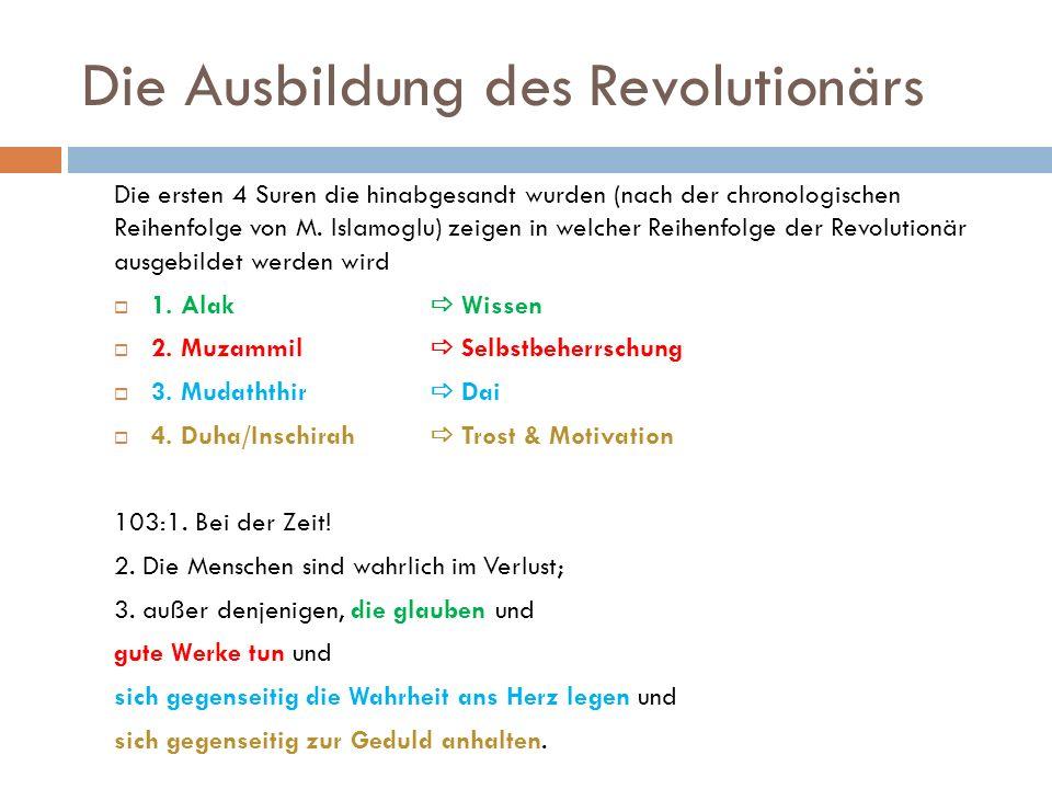 Die Ausbildung des Revolutionärs Die ersten 4 Suren die hinabgesandt wurden (nach der chronologischen Reihenfolge von M. Islamoglu) zeigen in welcher