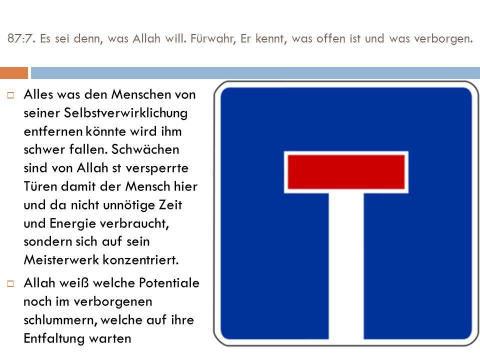 87:7. Es sei denn, was Allah will. Fürwahr, Er kennt, was offen ist und was verborgen. Alles was den Menschen von seiner Selbstverwirklichung entferne