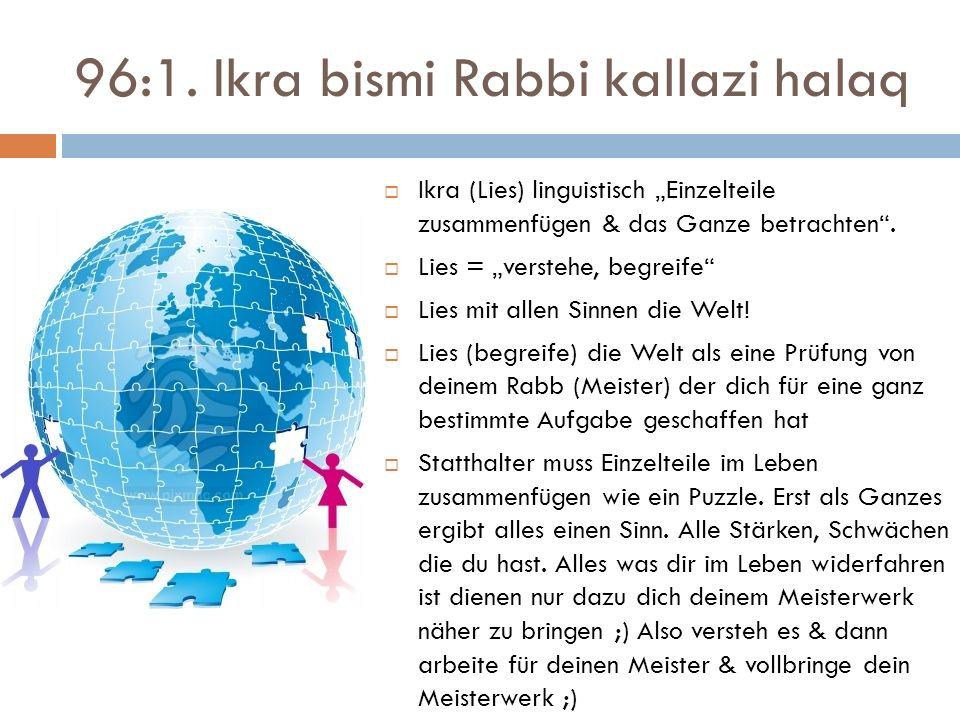 96:1. Ikra bismi Rabbi kallazi halaq Ikra (Lies) linguistisch Einzelteile zusammenfügen & das Ganze betrachten. Lies = verstehe, begreife Lies mit all