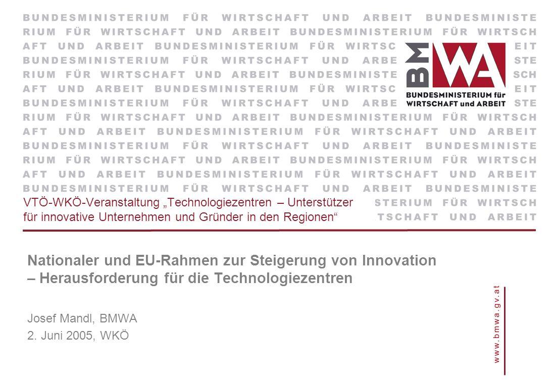 VTÖ-WKÖ-Veranstaltung Technologiezentren – Unterstützer für innovative Unternehmen und Gründer in den Regionen Nationaler und EU-Rahmen zur Steigerung von Innovation – Herausforderung für die Technologiezentren Josef Mandl, BMWA 2.