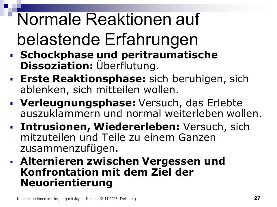 Krisensituationen im Umgang mit Jugendlichen; 12.11.2008; Dobernig 27 Normale Reaktionen auf belastende Erfahrungen Schockphase und peritraumatische Dissoziation: Überflutung.
