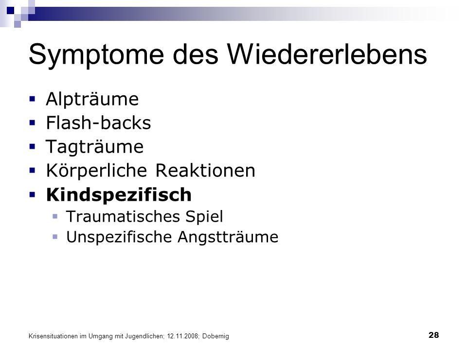 Krisensituationen im Umgang mit Jugendlichen; 12.11.2008; Dobernig 28 Symptome des Wiedererlebens Alpträume Flash-backs Tagträume Körperliche Reaktion