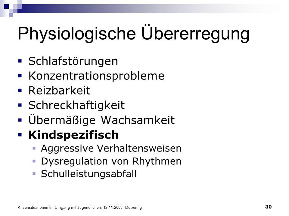 Krisensituationen im Umgang mit Jugendlichen; 12.11.2008; Dobernig 30 Physiologische Übererregung Schlafstörungen Konzentrationsprobleme Reizbarkeit S